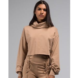 Nude Slouch Neck Crop Sweater